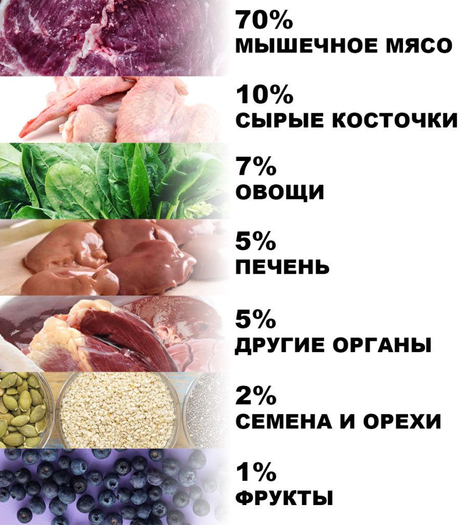 Здоровый рацион собаки состоит на 70% из мяса, на 10% из сырых косточек, на 7% из овощей, на 5% из печени, на 5% из других органов, на 2% из семян и орехов и на 1% из фруктов.