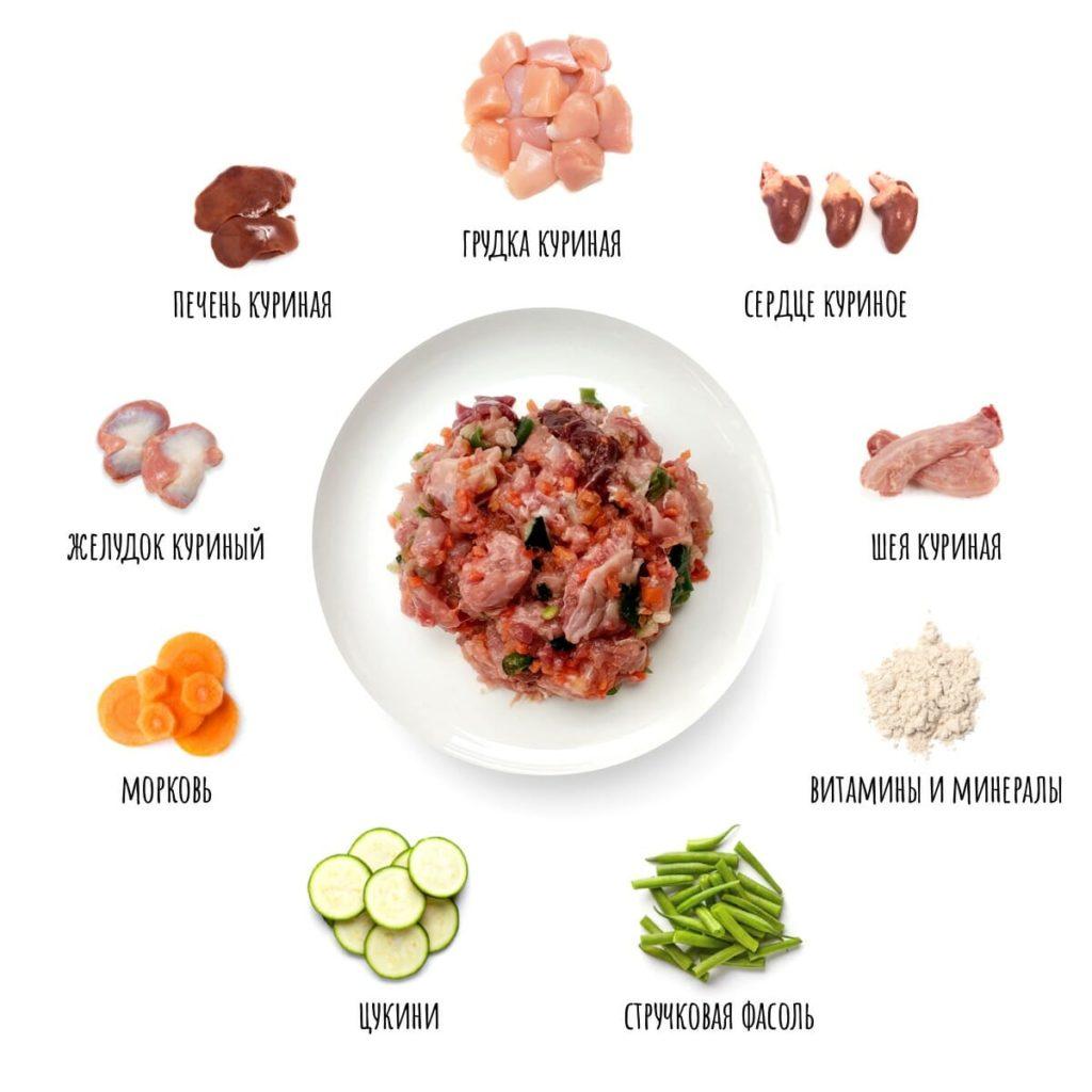 В натуральный корм входят только свежие продукты
